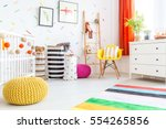 baby bedroom with yellow pouf... | Shutterstock . vector #554265856