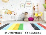 scandi style newborn bedroom... | Shutterstock . vector #554265868
