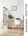 modern home office area with... | Shutterstock . vector #554277169