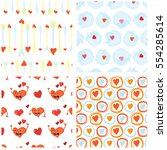 set of seamless valentines day... | Shutterstock .eps vector #554285614