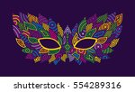 mardi gras mask. bright colors... | Shutterstock .eps vector #554289316
