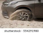 Car Wheels On A Sea Beach Sand. ...