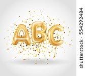 abc gold letter balloons.... | Shutterstock .eps vector #554292484