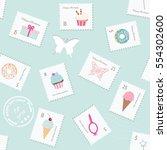 cute seamless pattern... | Shutterstock .eps vector #554302600