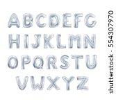 metallic silver abc balloons ... | Shutterstock .eps vector #554307970