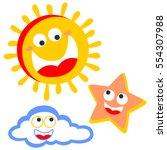 sun star cloud smiling vector...
