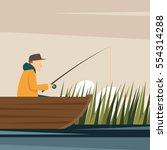 fishing adult fisherman fishing ... | Shutterstock .eps vector #554314288
