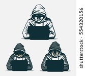 hacker with laptop  hacking the ... | Shutterstock .eps vector #554320156