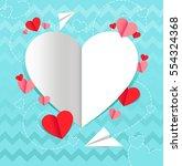 day  valentines  paper  heart ... | Shutterstock .eps vector #554324368