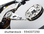close up inside of hard disk... | Shutterstock . vector #554337250