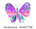 watercolor purple butterfly. | Shutterstock . vector #554357758