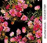 seamless pattern garden flowers   Shutterstock . vector #554359789