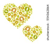 fruit hearts   vector... | Shutterstock .eps vector #554362864
