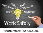 work safety concept chalkboard  ... | Shutterstock . vector #554366806