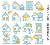 real estate icons  line design. ... | Shutterstock .eps vector #554377318