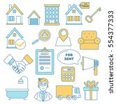real estate icons  line design. ... | Shutterstock .eps vector #554377333