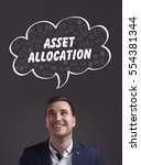 Small photo of Business, Technology, Internet and marketing. Young businessman thinking about: asset allocation