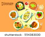 main lunch dishes icon of fried ... | Shutterstock .eps vector #554383030