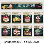 desserts price cards. vector... | Shutterstock .eps vector #554383036