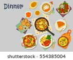 vegetarian lunch dishes icon of ... | Shutterstock .eps vector #554385004