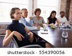 businesspeople listening to... | Shutterstock . vector #554390056