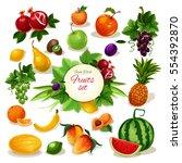 tropical and garden apple ... | Shutterstock .eps vector #554392870