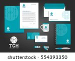 blue green digital tech... | Shutterstock .eps vector #554393350