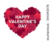 happy valentines day card. rose ... | Shutterstock .eps vector #554393578