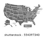 usa map complete with name of... | Shutterstock .eps vector #554397340