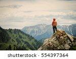 successful woman backpacker...   Shutterstock . vector #554397364