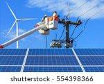 electricians  repairing wire of ... | Shutterstock . vector #554398366