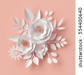 Stock photo  d render digital illustration white paper flowers blush pink wall decor floral background 554400640