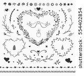 rustic floral set of decorative ... | Shutterstock .eps vector #554402854