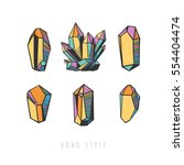 set of colorful crystals.... | Shutterstock .eps vector #554404474