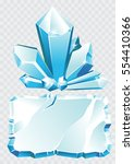 vector blue ice crystal and ice ... | Shutterstock .eps vector #554410366