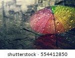 blurry of umbrella  view... | Shutterstock . vector #554412850