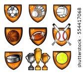 sport set equipments ball ... | Shutterstock .eps vector #554417068