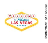 Stock vector classic retro welcome to las vegas sign simple modern flat vector style illustration 554420350