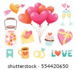 set of cute valentine day... | Shutterstock .eps vector #554420650