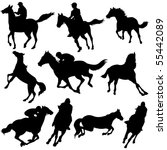 Vector Silhouettes Of Horse...
