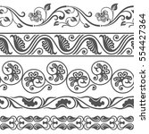 seamless floral border vector... | Shutterstock .eps vector #554427364