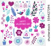 collection of valentine... | Shutterstock .eps vector #554427394