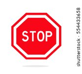 stop sign icon. flat sign...   Shutterstock .eps vector #554433658