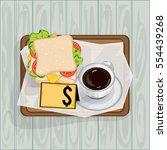 foods objects coffee sandwich...   Shutterstock .eps vector #554439268