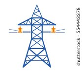 high voltage power line... | Shutterstock .eps vector #554443378