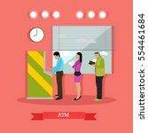 illustration of atm and people...   Shutterstock . vector #554461684