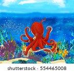 cartoon octopus close up... | Shutterstock . vector #554465008