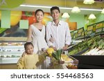 a happy family of three in the ... | Shutterstock . vector #554468563