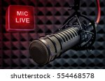 Small photo of microphone in radio studio