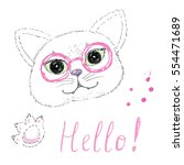 Stock vector cute cat with glasses on white background 554471689